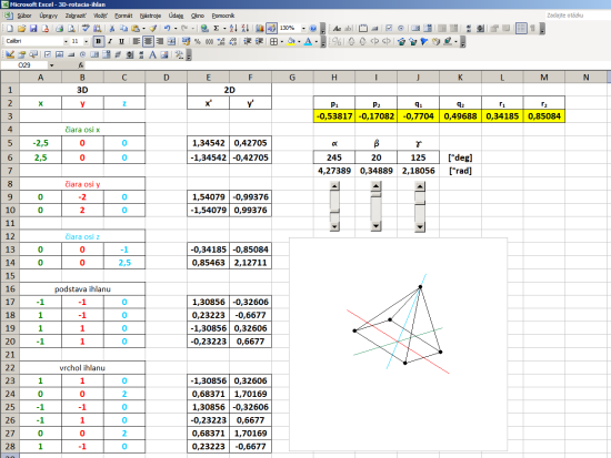 3D Rotation XYZ Excel